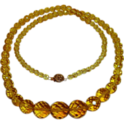 Art Deco Necklace Topaz Citrine Yellow Cut Crystals 25 inches