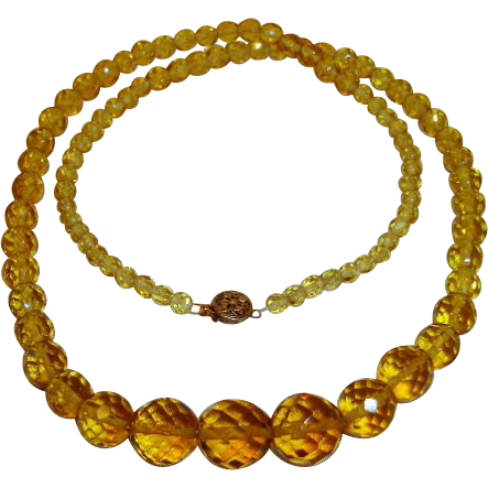 Art Deco Necklace Topaz Yellow Cut Crystals
