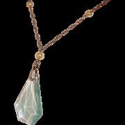 Art Deco Necklace Aqua Pendant Drop