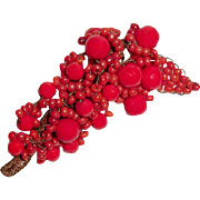 Red Art Deco Brooch Beaded Hand Wired