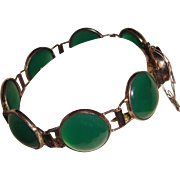 Art Deco Chrysoprase Bracelet Marked SILVER Translucent Stones