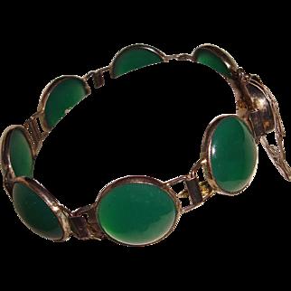 Art Deco Chrysoprase Bracelet Marked SILVER Translucent Stones