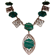 Art Deco Filigree Necklace Chrysoprase Green Lucite Stones