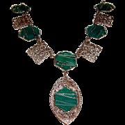 Art Deco Filigree Necklace Chrysoprase Green Lucite Stones