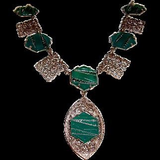 Art Deco Filigree Necklace Chrysoprase Glass Stones