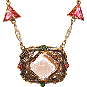 Art Deco Necklace Geometric Filigree Center Pink Czech Glass