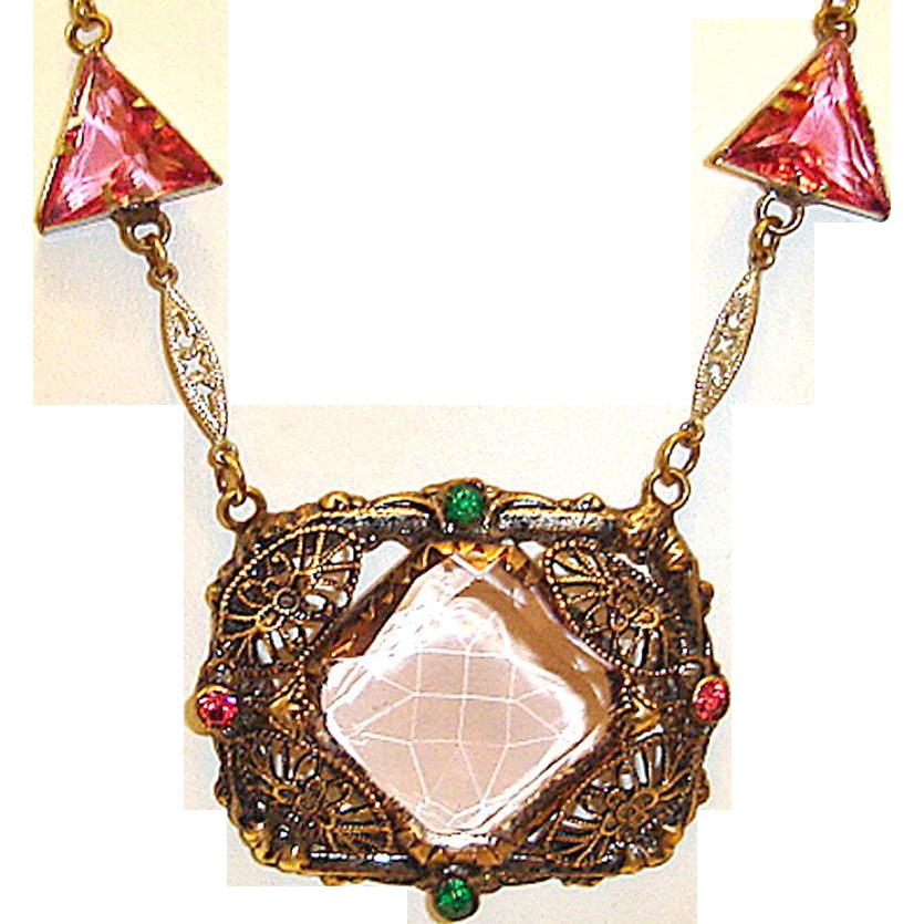 Art Deco Necklace Geometric Filigree Center Pink Czech Glass