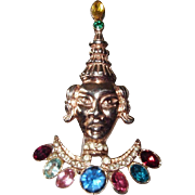 Jeweled Asian Princess Brooch Sterling Silver Rose Gold Vermeil
