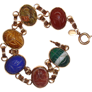 Estate Scarab Bracelet Real Stones 12K Gold Filled Autumn Colors