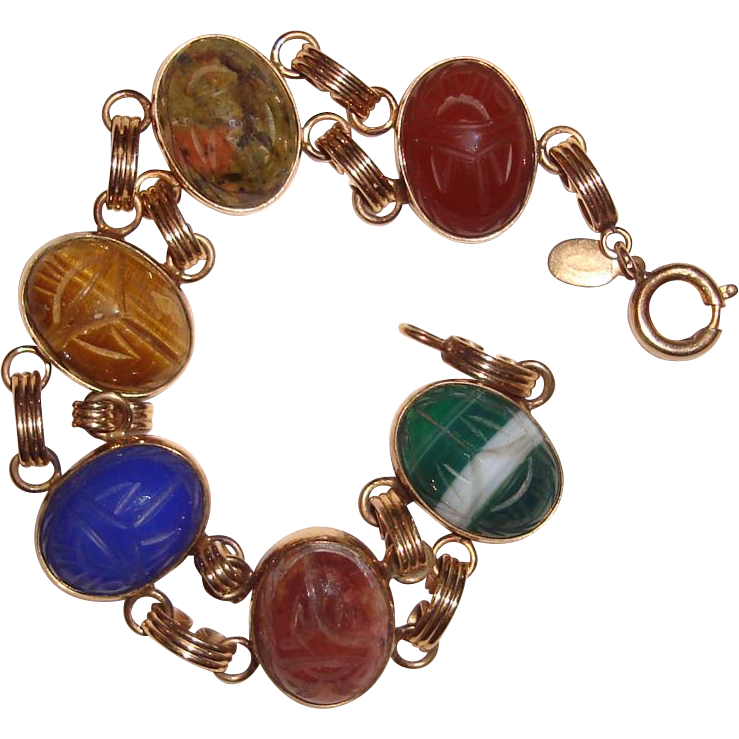 Estate Scarab Bracelet Real Gem Stones 12K Gold Filled