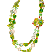 1950 Beaded Necklace Multicolored Bows Florets