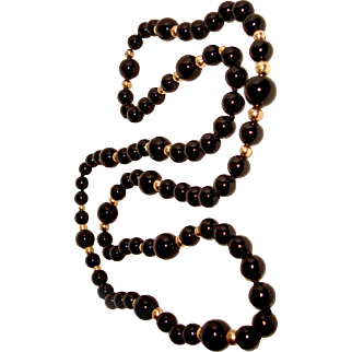Long Black Onyx Necklace 14K Gold Filled Beads 32 Inches