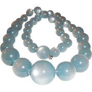 Baby Blue Moonglow Necklace Graduated Beads