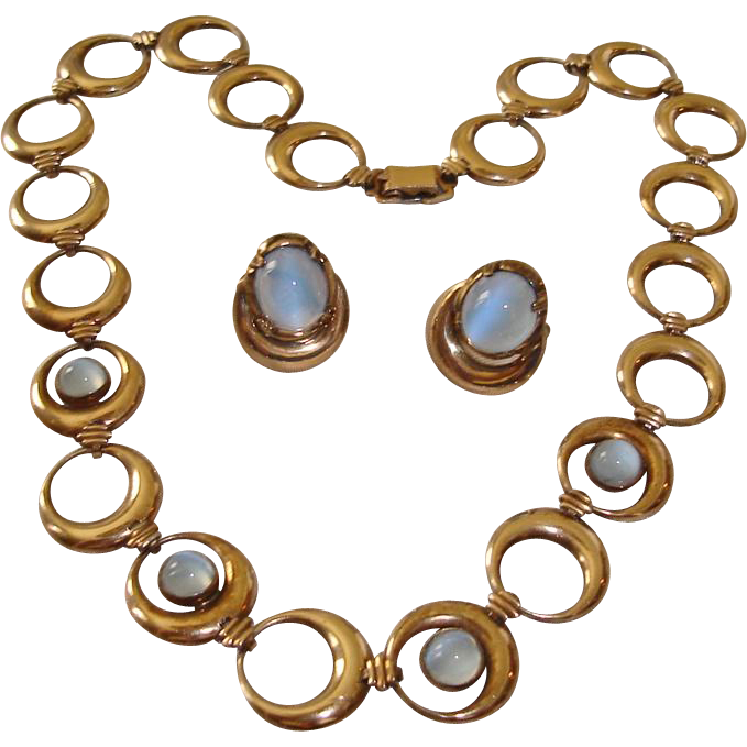 Blue Moonstone Necklace Earrings Sterling Silver 14K Gold Filled Symmetalic WRE