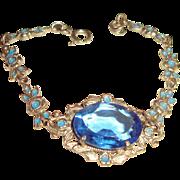 Art Deco Bracelet Sapphire Glass Enamel Flowers