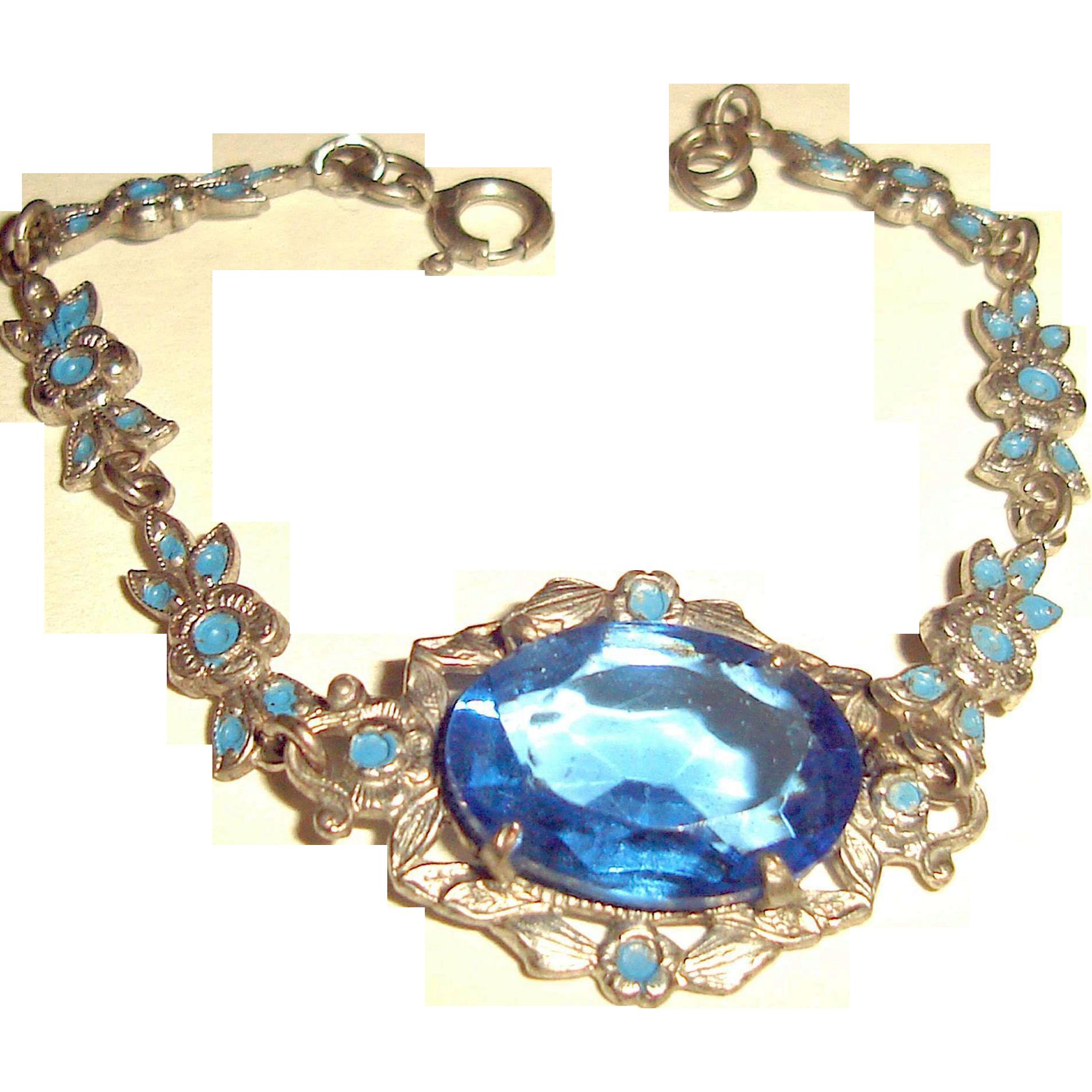 Art Nouveau Bracelet Sapphire Glass Enamel Flowers