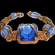 Art Deco Czech Filigree Bracelet Blue Cut Crystal Center