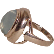 Sterling Silver Ring Blue Cat's Eye Size 8 Male Female