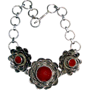 MidCentury Modernist Bracelet Carnelian Cabochons Stylized Flowers