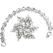 Vintage Crown Trifari Rhinestone Bracelet Brooch Wedding Jewelry