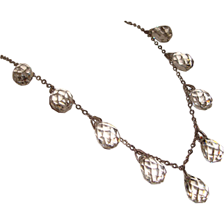 Bright Sparkling Cut Crystal Drop Choker Necklace