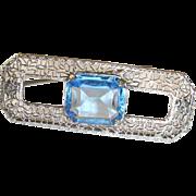 Edwardian Filigree Brooch Blue Stone
