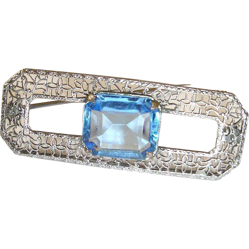 Art Deco Filigree Brooch Blue Stone Center
