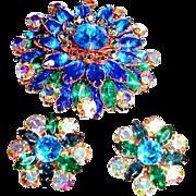1950s Big Rhinestone Brooch and Earrings Blue Green Aurora