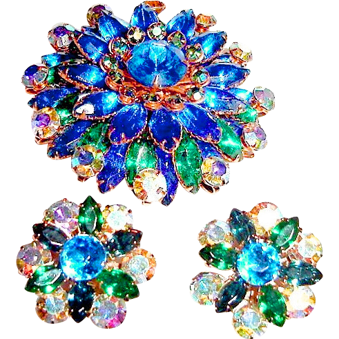 1950s Big Rhinestone Brooch and Earrings Blue Green Aurora
