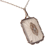 Art Deco Camphor Glass Pendant Necklace