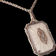 Art Deco Camphor Glass Pendant Necklace