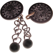 Victorian Cape Cloak Closure Engraved French Jet Buttons Steel Links Ball Drops