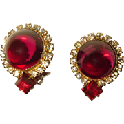 Hattie Carnegie Earrings Red Gumdrops Rhinestone Halo