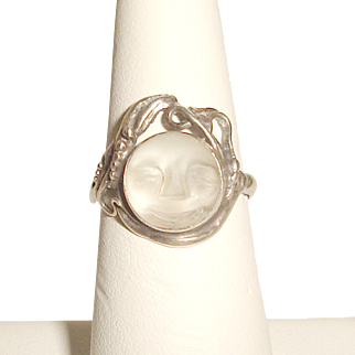 Sterling Moonstone Ring Man In The Moon Art Nouveau Style