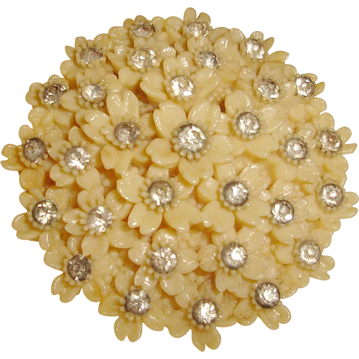 Art Deco Cream Corn Celluloid Dress Clip Rhinestones Made in USA