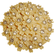 Art Deco Dress Clip Creamed Corn Celluloid Rhinestones