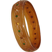 Wide Apple Juice Celluloid Bangle Bracelet Rhinestones Fall Colors