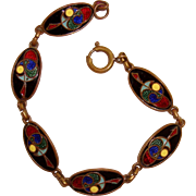 Book of Kells Inspired Art Deco Enameled Bracelet Celtic Symbols