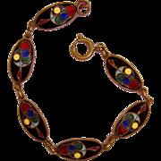 Art Deco Enamel Bracelet Celtic Irish Book of Kells Inspired