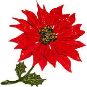 Big Christmas Brooch Enamel Poinsettia