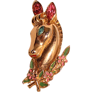 Coro Horse Brooch Bust Jeweled Enameled Pin