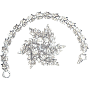 Rare Crown Trifari Bracelet Brooch Set Rhodium Rhinestones