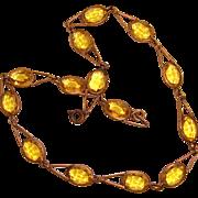 Art Deco Czech Necklace Yellow Topaz Glass Stones