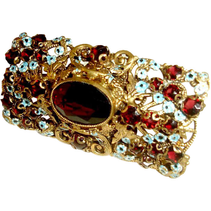 Art Deco Neiger Brothers Czech Brooch Garnet Glass Blue Enamel