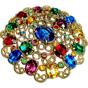 Art Deco Brooch Czech Glass Open Back Bright Gemstone Colors