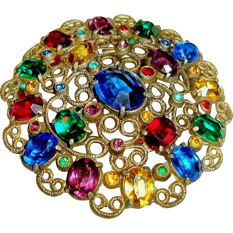 Art Deco Brooch Colored Czech Glass Stones Open Back Settings