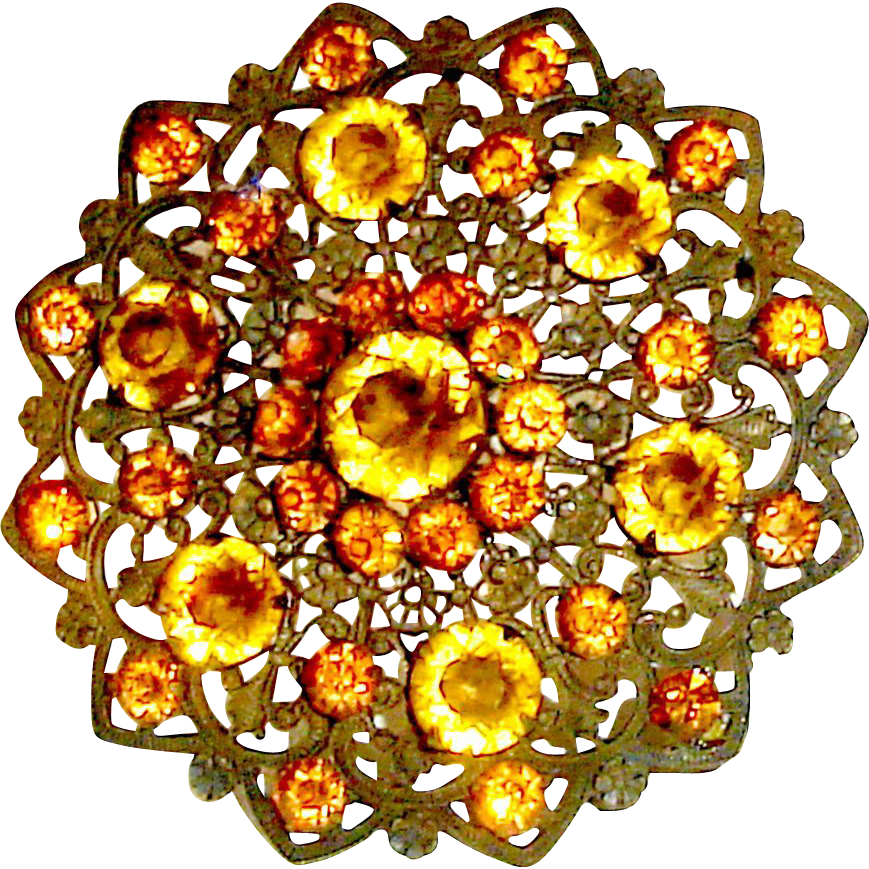 Art Nouveau Filigree Pendant Brooch Fall Colors