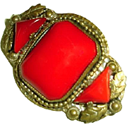 Red Art Nouveau Egyptian Revival Brooch