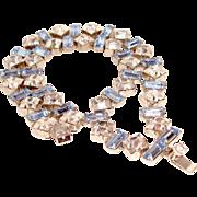 Art Deco Bracelet Double Row Blue Baguettes Clear Marquise Rhinestones