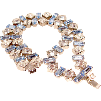 Art Deco Bracelet Double Row Blue Clear Rhinestones